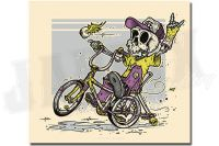 Purple Wheelie Bicycle Skeleton
